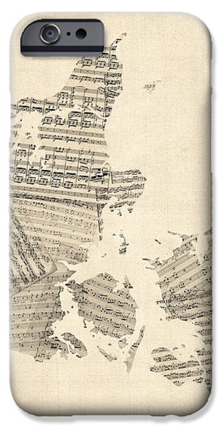Denmark iPhone Cases - Old Sheet Music Map of Denmark iPhone Case by Michael Tompsett