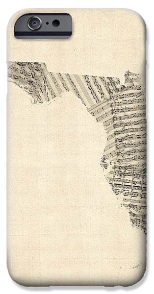 Geography iPhone Cases - Old Sheet Music Map of Florida iPhone Case by Michael Tompsett