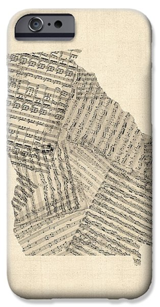 Old Digital Art iPhone Cases - Old Sheet Music Map of Georgia iPhone Case by Michael Tompsett