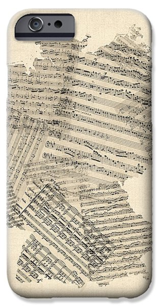Geography iPhone Cases - Old Sheet Music Map of Germany Map iPhone Case by Michael Tompsett