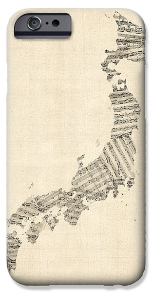 Geography iPhone Cases - Old Sheet Music Map of Japan iPhone Case by Michael Tompsett