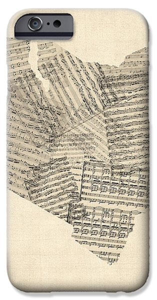 Old Digital Art iPhone Cases - Old Sheet Music Map of Kenya Map iPhone Case by Michael Tompsett