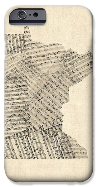 Geography iPhone Cases - Old Sheet Music Map of Minnesota iPhone Case by Michael Tompsett