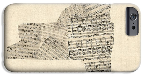 Sheets iPhone Cases - Old Sheet Music Map of New York State iPhone Case by Michael Tompsett