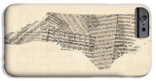 Old Digital iPhone Cases - Old Sheet Music Map of North Carolina iPhone Case by Michael Tompsett