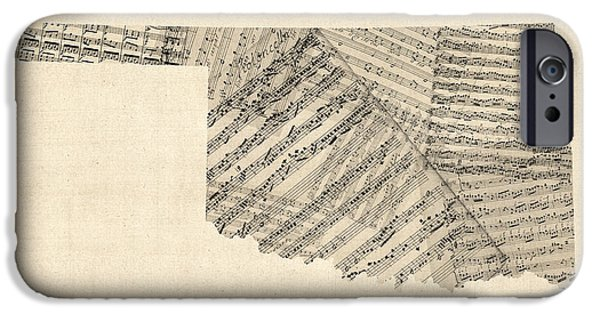 Old Digital iPhone Cases - Old Sheet Music Map of Oklahoma iPhone Case by Michael Tompsett