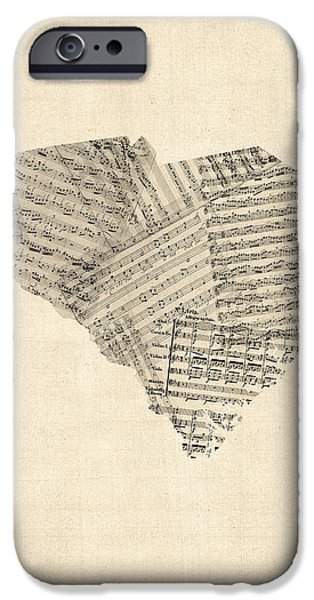 Old Digital Art iPhone Cases - Old Sheet Music Map of South Carolina iPhone Case by Michael Tompsett