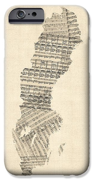 Sheets iPhone Cases - Old Sheet Music Map of Sweden iPhone Case by Michael Tompsett
