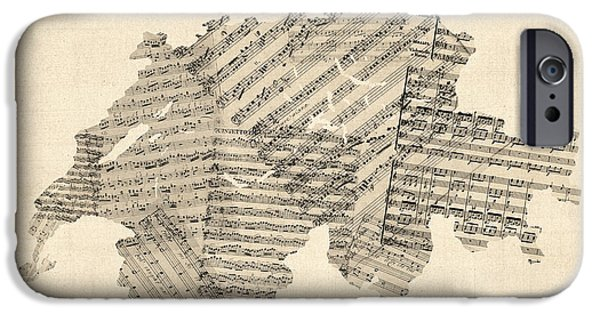 Sheets iPhone Cases - Old Sheet Music Map of Switzerland Map iPhone Case by Michael Tompsett