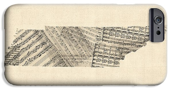 Old Digital iPhone Cases - Old Sheet Music Map of Tennessee iPhone Case by Michael Tompsett