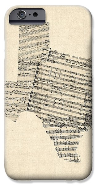 Geography iPhone Cases - Old Sheet Music Map of Texas iPhone Case by Michael Tompsett
