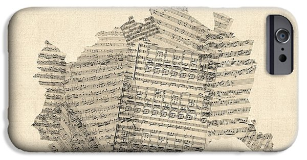 Austria iPhone Cases - Old Sheet Music Map of Vienna Austria Map iPhone Case by Michael Tompsett