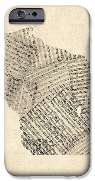 Old Digital Art iPhone Cases - Old Sheet Music Map of Wisconsin iPhone Case by Michael Tompsett