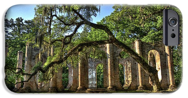 Historic Site iPhone Cases - Old Sheldon Church Ruins 2 iPhone Case by Reid Callaway