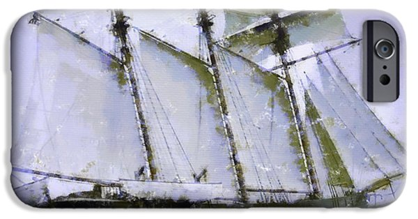 Pirate Ship iPhone Cases - Old ship sailing  iPhone Case by Toppart Sweden