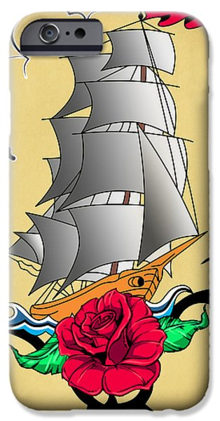 Animation iPhone Cases - Old Ship Tattoo  iPhone Case by Mark Ashkenazi