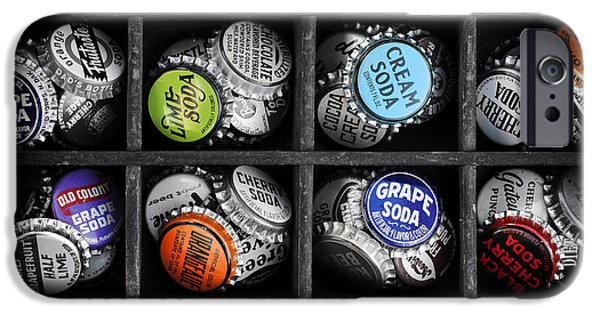 Grid Photographs iPhone Cases - Old Soda bottle tops iPhone Case by Tim Gainey