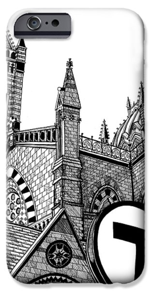 City. Boston Drawings iPhone Cases - Old South Church Boston iPhone Case by Conor Plunkett