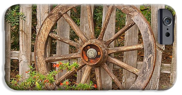 Wooden Wagons iPhone Cases - Old Spare Wheel iPhone Case by Chris Thaxter