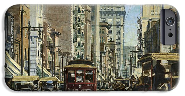 Horse And Cart Paintings iPhone Cases - Old St. Louis 11th and Olive iPhone Case by Don  Langeneckert