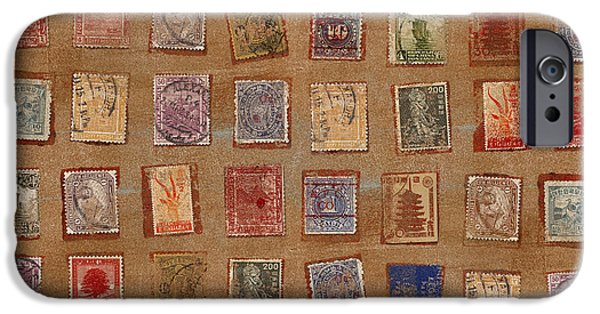 Torn Mixed Media iPhone Cases - Old Stamp Collection iPhone Case by Carol Leigh