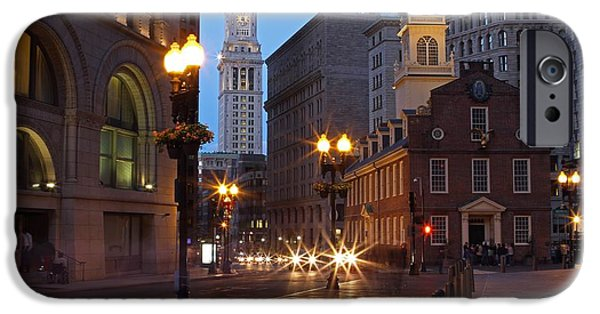 City. Boston iPhone Cases - Old State House and Custom House in Boston iPhone Case by Juergen Roth