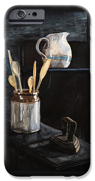 Old Pitcher Paintings iPhone Cases - Old Still Life iPhone Case by Masha Batkova