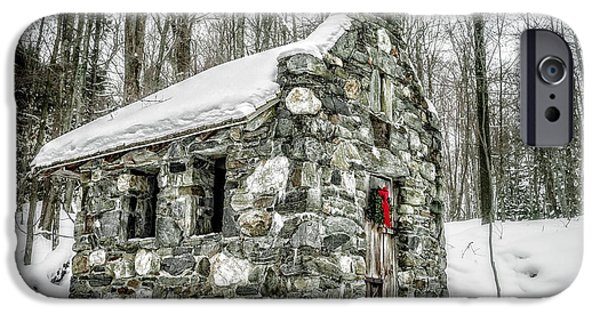 Skiing iPhone Cases - Old Stone Chapel Stowe Vermont iPhone Case by Edward Fielding