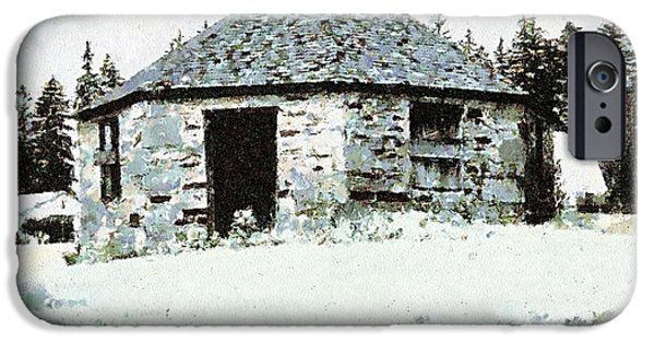 Wintertime Digital Art iPhone Cases - Old Stone Schoolhouse in Winter - South Canaan iPhone Case by Janine Riley