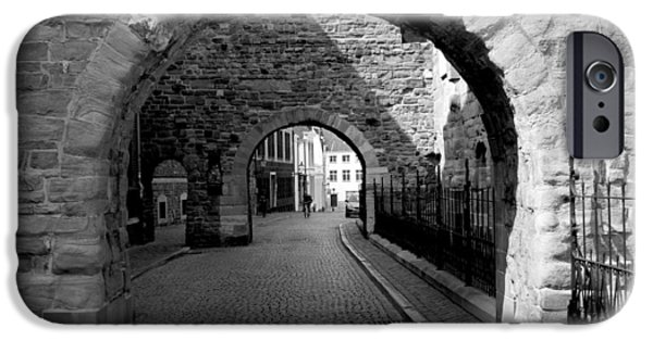 Limburg iPhone Cases - Old street with two ports in Maastricht iPhone Case by Jolly Van der Velden