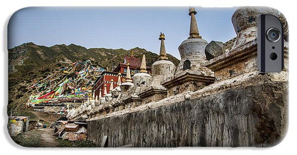Tibetan Buddhism iPhone Cases - Old Stupas iPhone Case by James Wheeler