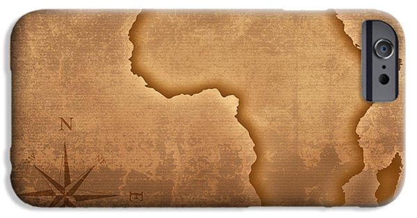 Line Style iPhone Cases - Old style Africa map iPhone Case by Johan Swanepoel