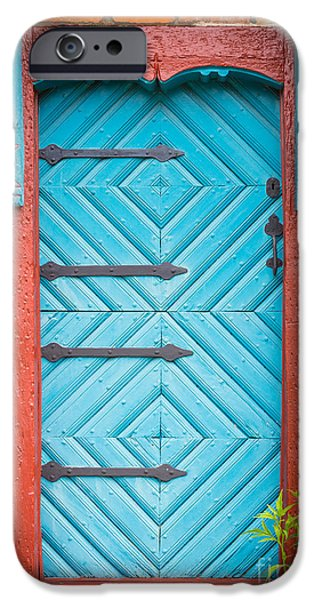 Facade iPhone Cases - Old Swedish Door iPhone Case by Inge Johnsson