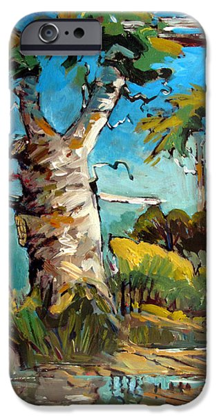 Remnant Paintings iPhone Cases - Old Sycamore Snag iPhone Case by Charlie Spear