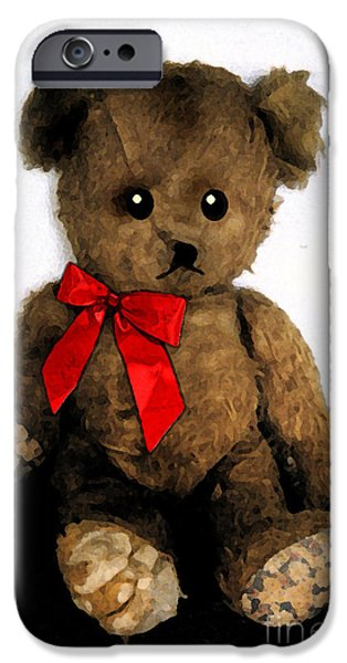 Printmaking iPhone Cases - Old Teddy Bear in Red Bow iPhone Case by Cathy Peterson