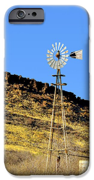 Windmills iPhone Cases - Old Texas Farm Windmill iPhone Case by Christine Till