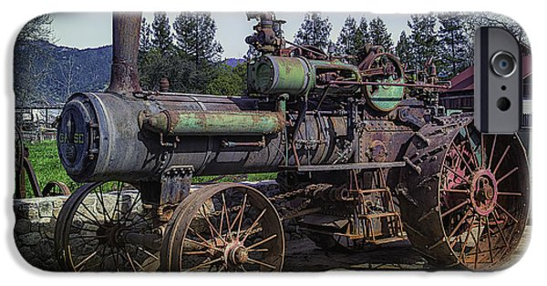 Machinery iPhone Cases - Old Threshing Machine iPhone Case by Garry Gay
