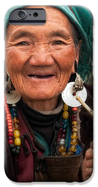 Tibetan Buddhism iPhone Cases - Old Tibetan Woman iPhone Case by James Wheeler