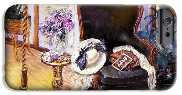 Interior Still Life Pastels iPhone Cases - Old Time Memories II iPhone Case by Susan Kuznitsky