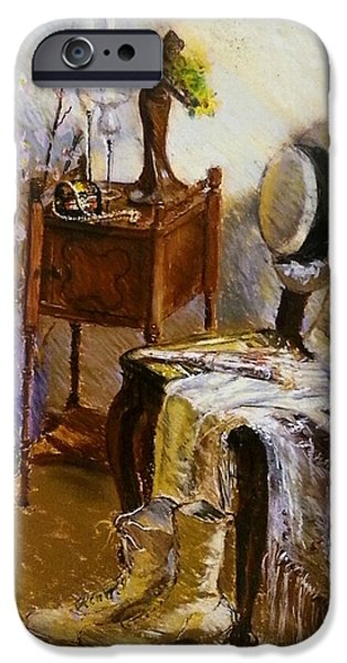 Interior Still Life Pastels iPhone Cases - Old Time Memories  iPhone Case by Susan Kuznitsky
