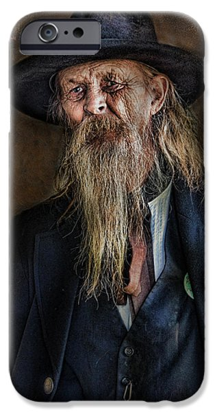 Old Man With Beard iPhone Cases - Old Timer iPhone Case by Barbara Manis