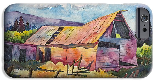Old Barn Paintings iPhone Cases - Old Timer iPhone Case by Michael Bulloch