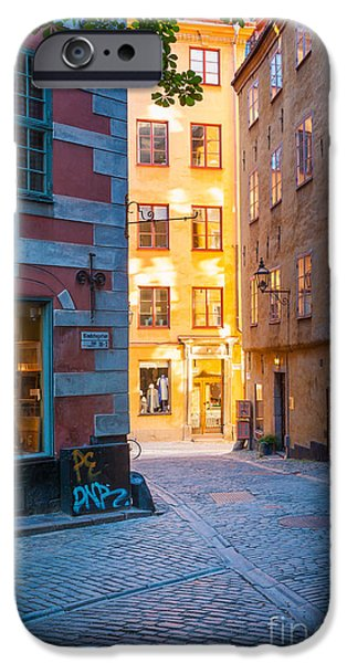 Facade iPhone Cases - Old Town Alley iPhone Case by Inge Johnsson