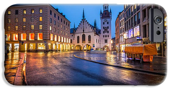 Marienplatz iPhone Cases - Old Town Hall and Marienplatz in the Morning Munich Bavaria iPhone Case by Andrey Omelyanchuk