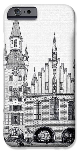 Interior Scene iPhone Cases - Old Town Hall - Munich - Germany iPhone Case by Christine Till
