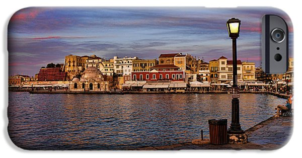 Interface iPhone Cases - Old town harbour in Chania Crete iPhone Case by David Smith