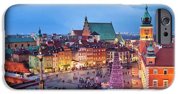 Polish Culture iPhone Cases - Old Town in Warsaw at Evening iPhone Case by Artur Bogacki