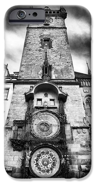 Monotone iPhone Cases - Old Town Square Clock Tower iPhone Case by John Rizzuto