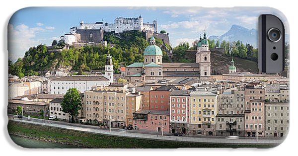 Salzburg iPhone Cases - Old Town With Hohensalzburg Castle, Dom iPhone Case by Panoramic Images