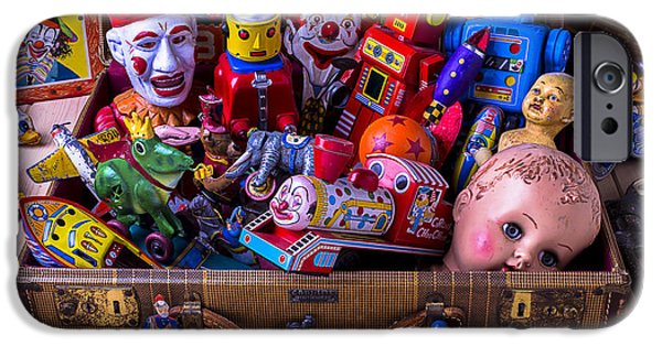 Concept Photographs iPhone Cases - Old Toys In Suitcase iPhone Case by Garry Gay